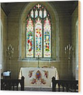 Altar And Stained Glass Window Nether Wallop Wood Print