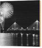 Alton Fireworks Black And White Wood Print