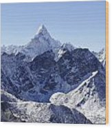 Ama Dablam Mountain Seen From The Summit Of Kala Pathar In The Everest Region Of Nepal Wood Print