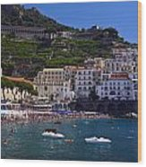 Amalfi Beach And Town Wood Print