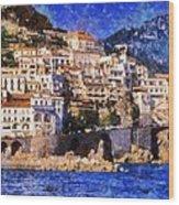 Amalfi Town In Italy Wood Print