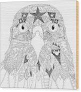 Amarican Eagle Black White Wood Print