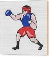 Amateur Boxer Boxing Cartoon Wood Print