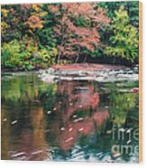 Amazing Fall Foliage Along A River In New England Wood Print