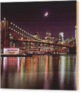 Amazing New York Skyline And Brooklyn Bridge With Moon Rising Wood Print