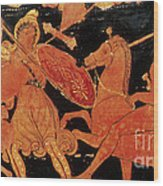 Amazon Warrior Woman Fights Greek Wood Print
