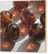 Amber Marbles Wood Print