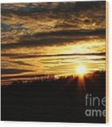 Amber Sky Over The Hills Wood Print