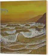 Amber Sunset Beach Seascape Wood Print