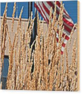 Amber Waves Of Grain And Flag Wood Print