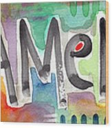 Amen- Colorful Word Art Painting Wood Print by Linda Woods