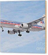 Amercian Airlines Boeing 757 Airplane Landing Wood Print by Paul Velgos