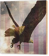 American Bald Eagle In Flight Wtih Flag Wood Print by Natasha Bishop