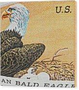 American Bald Eagle Vintage Postage Stamp Print Wood Print