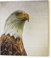 American Bald Eagle With Flag Wood Print by Natasha Bishop