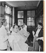 American Barbershop, C1900 Wood Print