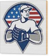 American Baseball Pitcher Gloves Retro Wood Print