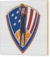 American Basketball Player Dunk Ball Shield Retro Wood Print by Aloysius Patrimonio