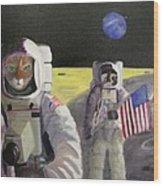 American Cat Astronauts Wood Print