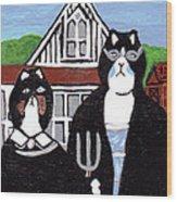 American Cat Gothic Wood Print