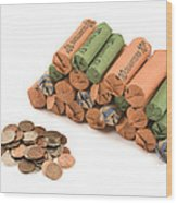American Coins On White Background Wood Print