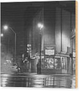 American Coney In Detroit Black And White Wood Print