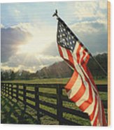 American Country Wood Print by Mary Lawson