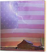 American Country Storm Wood Print