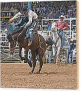 American Cowboy Riding Bucking Rodeo Bronc II Wood Print