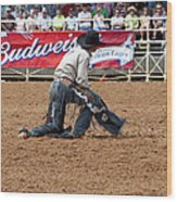 American Cowboy Thrown From A  Bucking Rodeo Bronc Wood Print