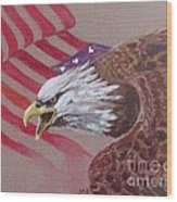 American Eagle Wood Print by Jean Ann Curry Hess