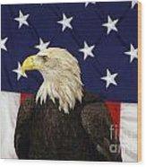 American Eagle And Flag Wood Print