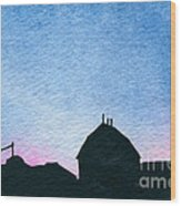 American Farm #1 Silhouette Wood Print