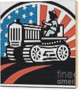 American Farmer Riding Vintage Tractor Wood Print by Aloysius Patrimonio