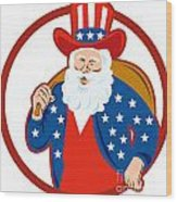 American Father Christmas Santa Claus Wood Print
