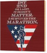 American Female Marathon Runner Retro Poster Wood Print by Aloysius Patrimonio