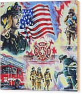 American Firefighters Wood Print