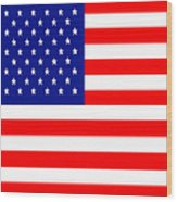 American Flag . Square Wood Print