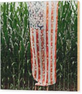 American Flag And A Field Of Corn Wood Print by Kim Fearheiley