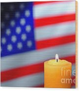 American Flag And Candle Wood Print