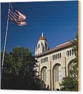 American Flag And Hoover Tower Stanford University Wood Print