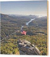 American Flag At Chimney Rock State Park North Carolina Wood Print