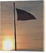 American Flag At Dusk Wood Print