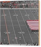 American Flag At Paul Brown Stadium Wood Print by Dan Sproul