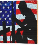 A Time To Remember American Flag At Rest Wood Print