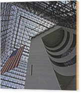 American Flag At The Jfk Library Wood Print by Juergen Roth