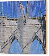 American Flag Flying Over Brooklyn Wood Print