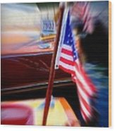American Flag Focus Wood Print
