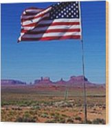 American Flag In Monument Valley Wood Print