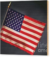 American Flag In Smoke Wood Print by Olivier Le Queinec